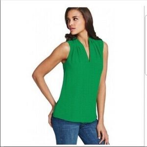 CAbi Green Printed Business Top Style 124